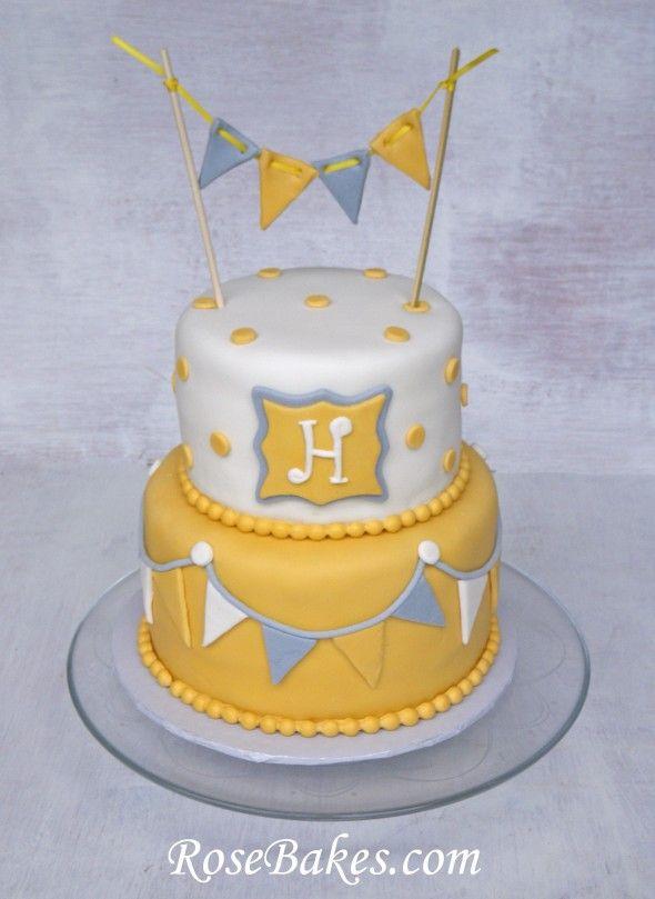 fdc988773 Gray   Yellow Baby Shower Cake