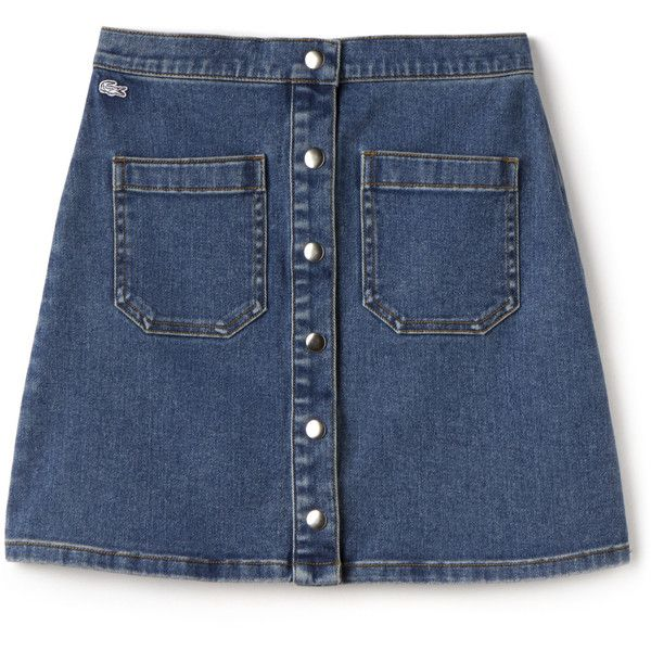 Blue Women's Lacoste Live Buttoned Denim Skirt found on Polyvore featuring skirts, bottoms, faldas, blue skirt, vintage denim skirt, button skirt, button-front denim skirts and denim skirt