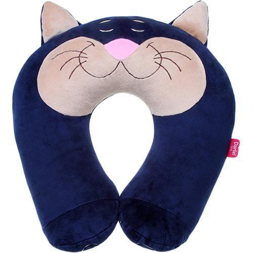 Almofada Soneca Baby Dartel Toys Gato Azul Marinho