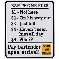 Bar Phone Fees Funny Bar Sign - Funny Pub Drinking Wall Decorations Display Sign