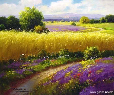 Field Sunflower Van Gogh | Lavender Oil Painting,Flower Field Oil Painting,Sunflower Oil Painting ...