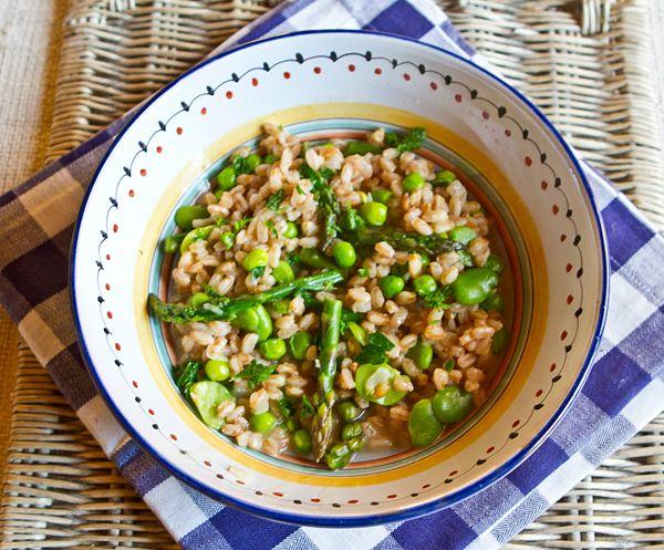 Farrotto Primavera - Farro replaces rice but is prepared as risotto in ...