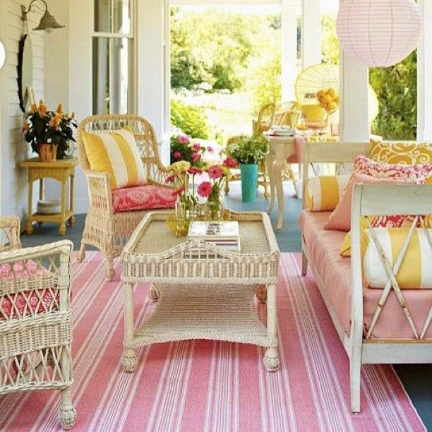 Pretty, cozy, country porch. I want! #porchswing... | Wicker Furniture  wickerparadise.com