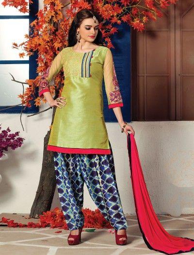 b5d01a2c62 Olive Cotton Silk Simple Salwar Suit, Latest Designer punjabi suits, Punjabi  Suits for women, Designer Punjabi suits for festive, punjabi suit for  reception ...