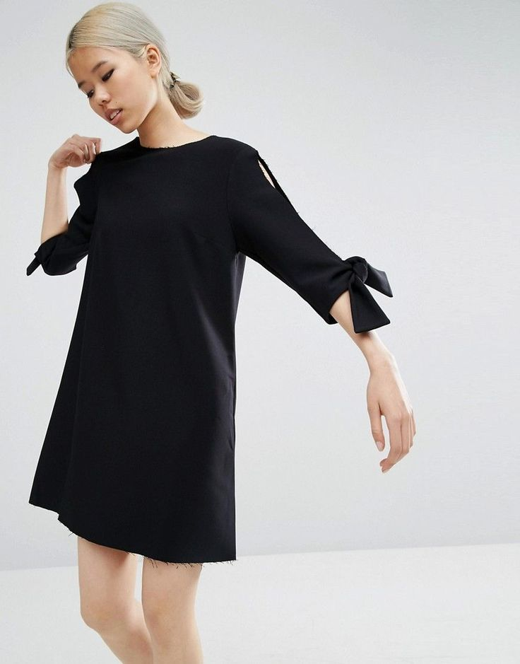 ASOS Shift Dress With Split Sleeve and Tie Detail - Black