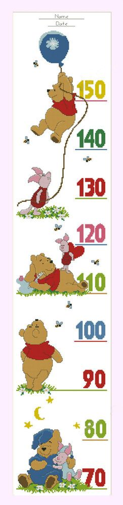 """Counted Cross Stitch Kit - Growth Height Chart for baby """"Winnie the Pooh""""2"""