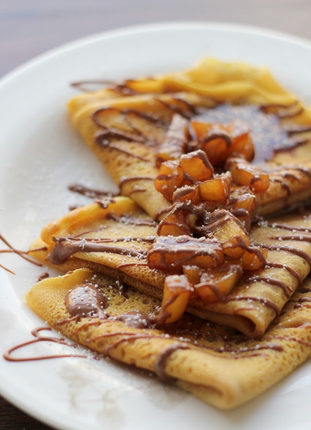 Pumpkin Crepes with Beer and Cinnamon Apples and a Chocolate Drizzle #divineinnyc