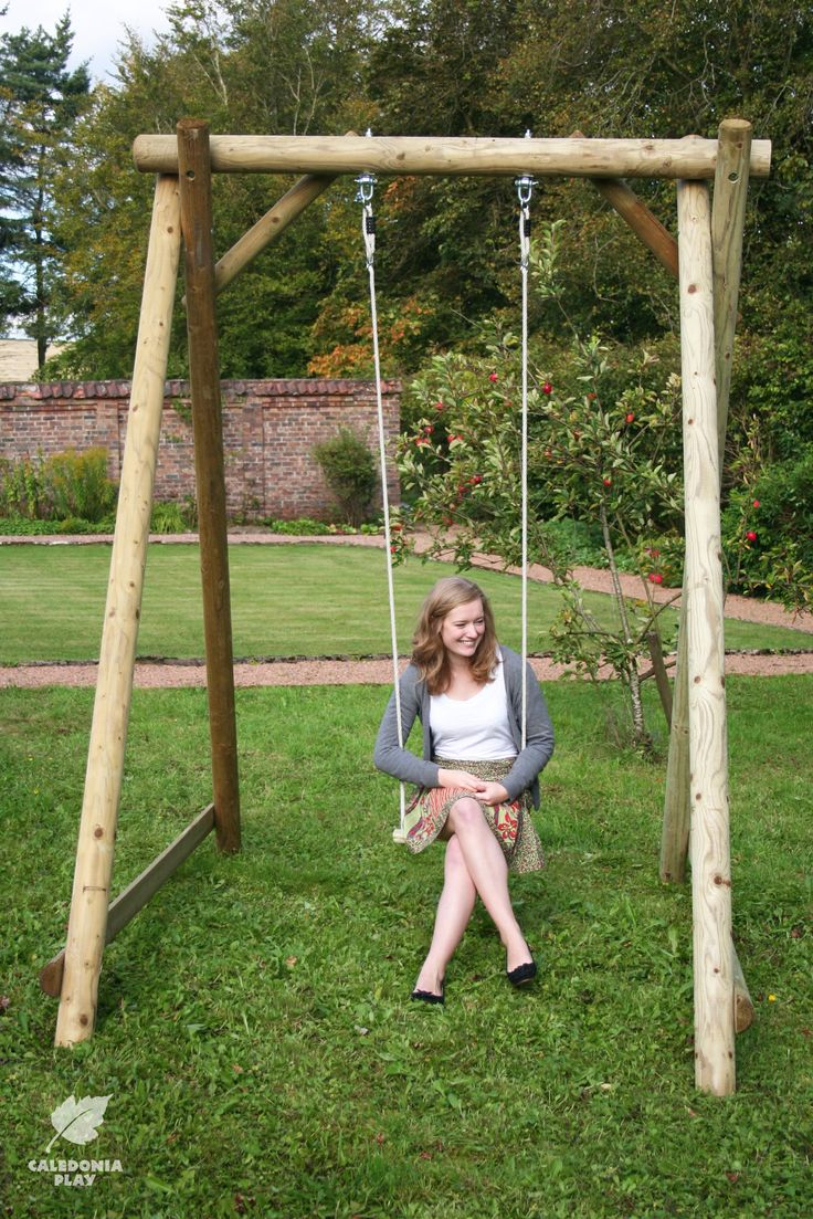 Robust wooden swing frame for the garden - swing seats can be chosen to suit - from baby and toddler seats to deluxe rubber seats, horizontal or vertical tyres, trapeze bars and rings, sling seats, hammock seats and more. The timber structure will last for many years to come. Also available as a double or even a triple swing.