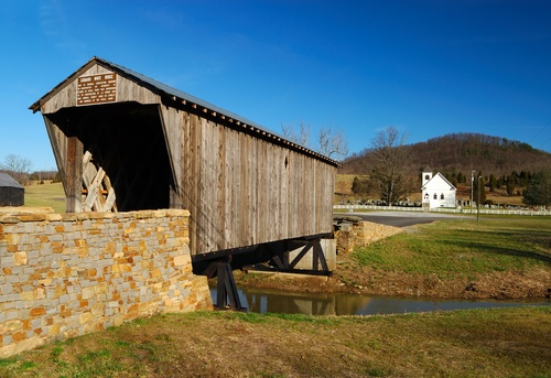 Picture Of Covered Bridge Leads To Rural Church Ky Planetware Covered Bridges Places Swinging Bridge