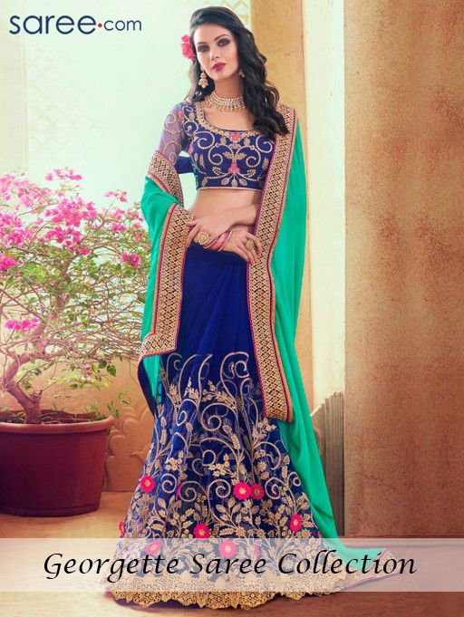 BLUE AND SEA GREEN GEORGETTE SAREE WITH EMBROIDERY WORK