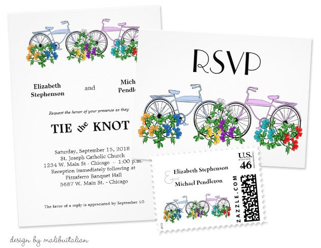 Party Simplicity Bicycle Wedding Trend - Great selection of Bicycle Wedding Invitations!  #bicycle #weddings