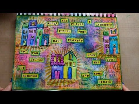 RachO113 - Mixed Media Art Journal Page - Places I Remember - time 22:04; Apr 25, 2014 - NTS: reminds me to pull out my neo colors more often