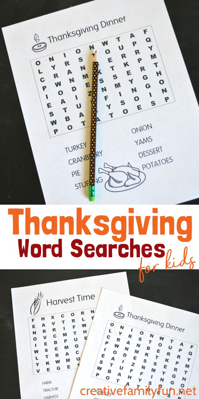 Print out one or both of these fun Thanksgiving Word Searches for kids. Get the Harvest Time word search and Thanksgiving Dinner word search here. #Thanksgiving #kids #wordsearch #CreativeFamilyFun