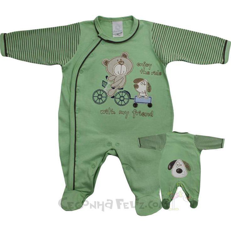 Cegonha Feliz Roupas Bebê Menino : Macacão Para Enxoval do Bebê Menino - Piu Piu