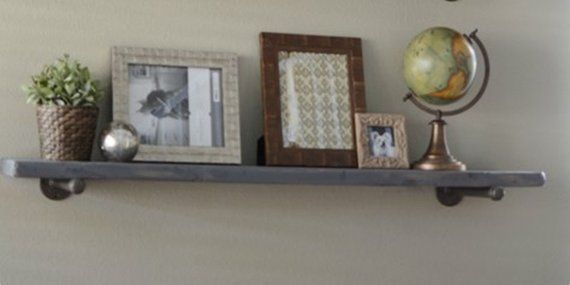 Gray Wash Farmhouse Floating Shelves, 7.25″ Rustic Industrial Wood Pipe Shelf, K…  – Products