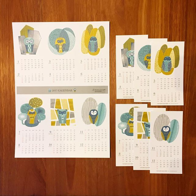 2017カレンダー【フクロウの森】  A3サイズ(左)と99×195mmサイズ(右)の2種類あります。デザインは同じです。 #KUBORIm #japan #illustration #カレンダー #calendar #フクロウ #owl