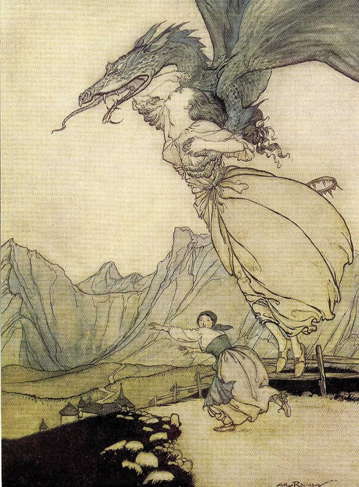 ''I do not care what comes after; I have seen the dragons on the wind of morning.''  Ursula K. Le Guin (The Farthest Shore) Image, Arthur Rackham.