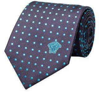Versace Men's Medusa Logo Polka Dot Pattern Silk Neck Tie Turquoise