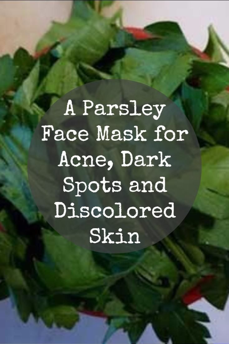 Parsley is well known for its skin lightening properties that can help reduce the appearance of dark spots and discolored skin on your face. It is also a beneficial acne treatment, particularly when used fresh.    Some commercial products trumpet the addition of parsley extract in their formulas. But why pay exorbitant prices for minuscule amounts, when you can easily make a parsley face mask at home for a fraction of the cost and at much greater strength and effectiveness?