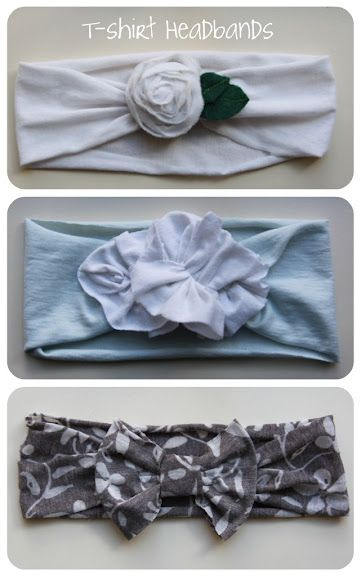 This is a great way to use old t-shirts! Just cut a strip to the desired width, create the flower/bow, and then sew/hot glue together.