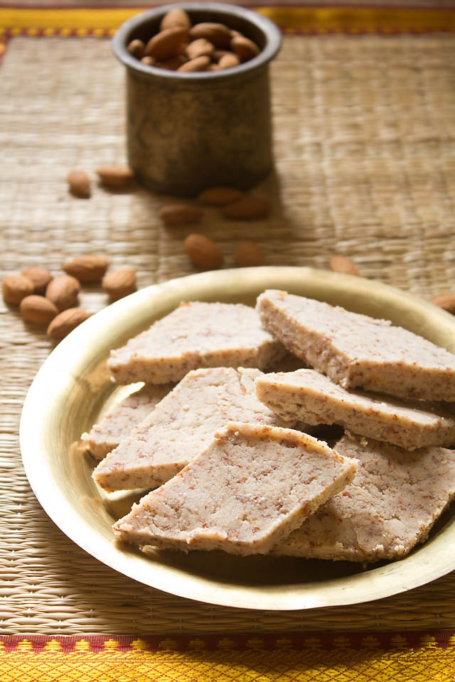 almond halwa - a light & healthy almond fudge. vegan, gluten free & step by step method.