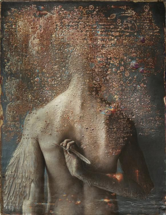 Italian artist Agostino Arrivabene's heavily textured paintings look as if they were unearthed from an ancient crypt. Oil paint mixes with gold leaf and enamel on wood panel, blistering and bui...