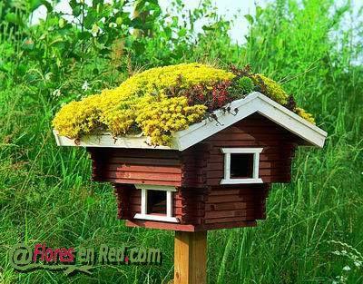 Una idea para colocar en vuestro jardin, una bonita pajarera.