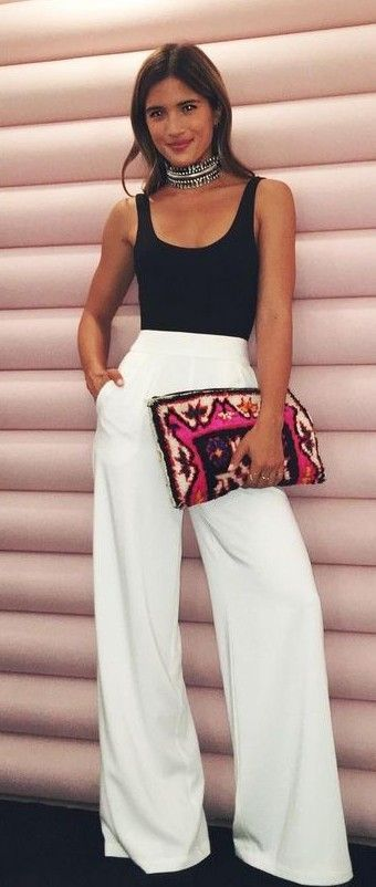 #summer #warmweather #outfitideas |  Black Top + White Wide Leg Pants