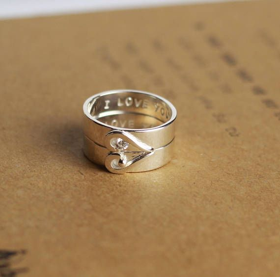 These Heart Matching Promise Rings are a perfect personalized promise rings for couples. You can customize stamping the rings with: initials/anniversary date/roman numerals/short words. By default, we will stamp I LOVE YOU on the inside of both rings. PRODUCT DETAILS