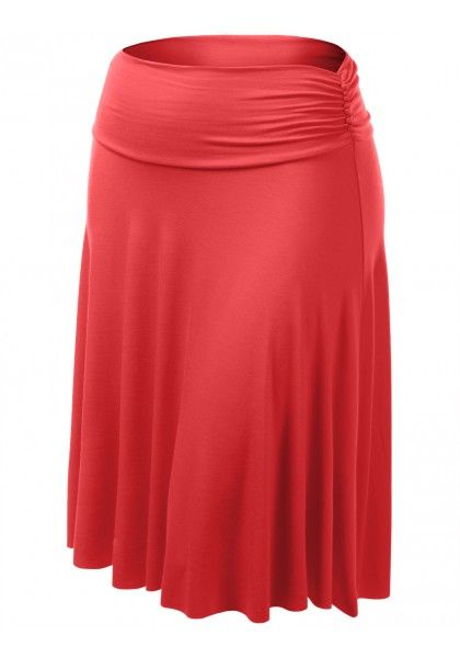 Jersey A-Line Knee Length Skirt with Ruched Waist Band #jtomsonplussize