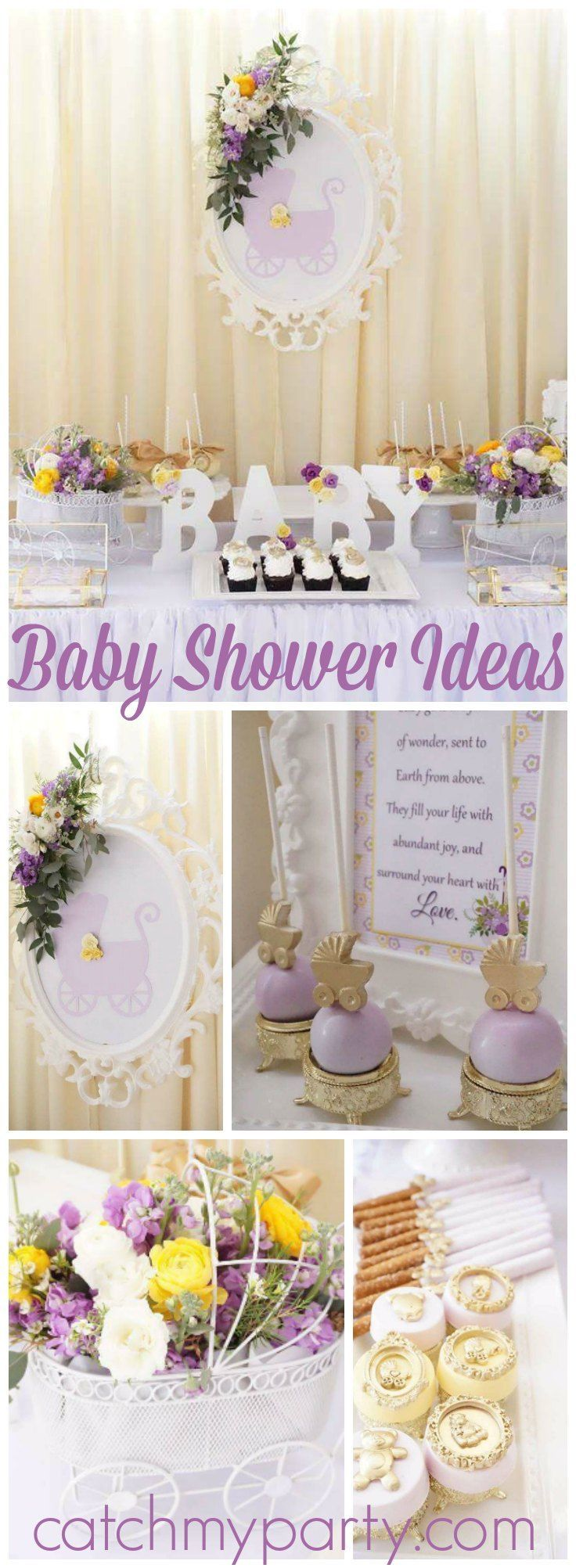 Loving this elegant purple and yellow baby shower! See more party ideas at CatchMyParty.com!