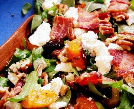 ... Roasted Squash and Arugula Salad with Pecans, Bacon, and Goat Cheese