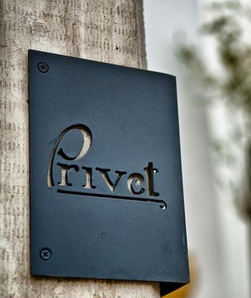 Privet - corner metal routed #signage #metalsigns #environmentalgraphics