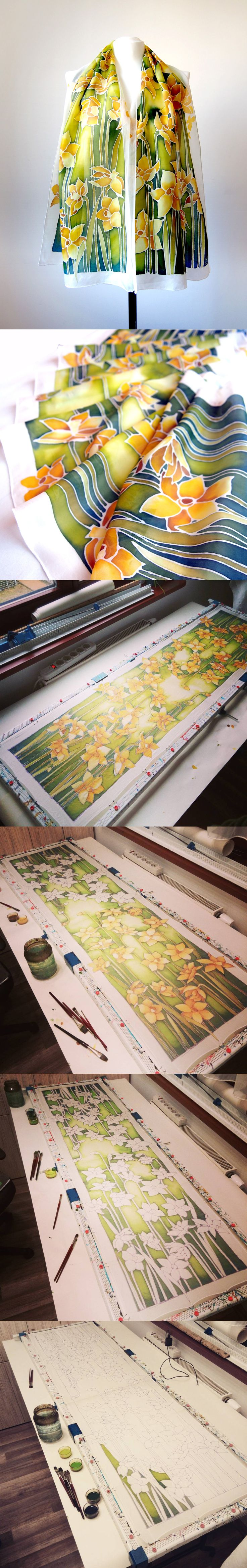 Daffodil silk scarf while being painted! Step by step work of Luiza Malinowska #minkulul