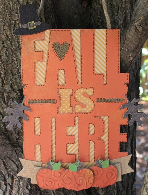 """Check out this post on JoysLife.com and learn how to create a """"Fall is Here"""" chipboard sign with your die cut machine!"""