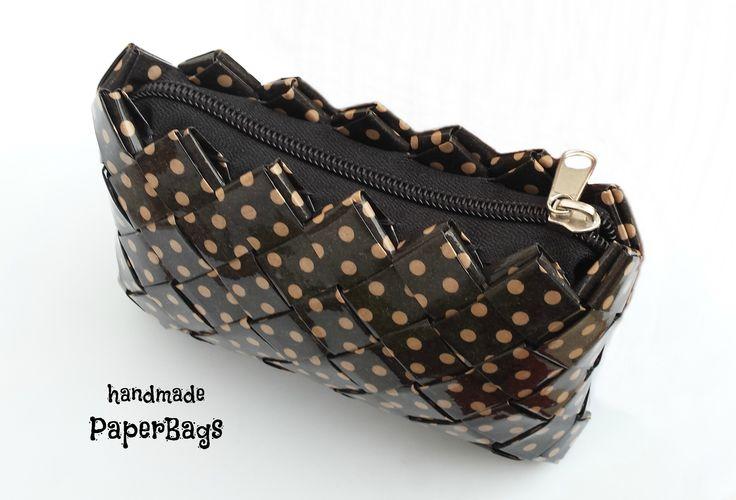 Handmade PaperBag Black with Vintage-Inspired Polka-Dots