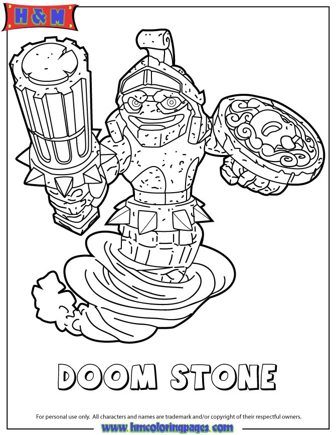 skylanders swap force doom stone coloring page