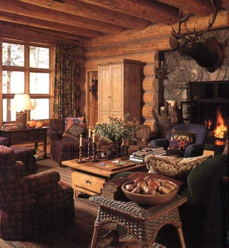 diy cabin decor. Living room. Exposed beams. Fireplace