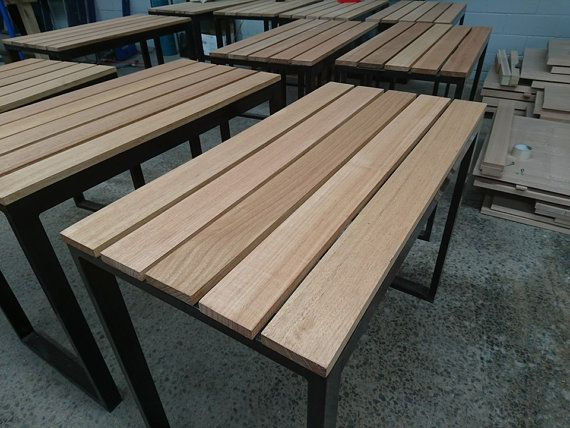 Outdoor Timber And Steel Table от CGSFURNITURE77 на Etsy