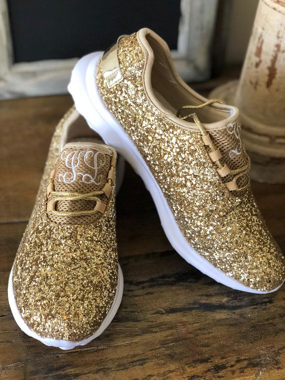 f5498ffe88ce5 Monogram Glitter Shoes for Women - Gold Glitter Tennis Shoe for the ...