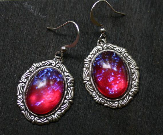 Dragon Breath Fire Opal Cameo Earrings by robinhoodcouture on Etsy, $28.00