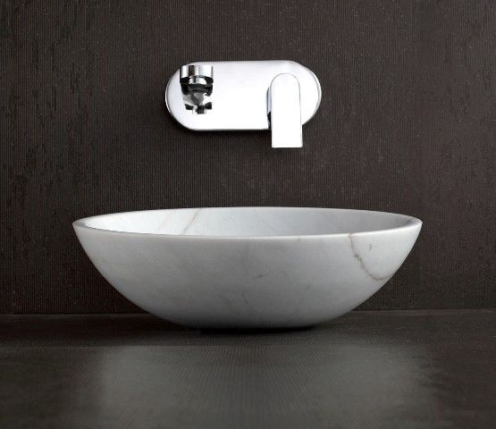 Apollo   Polished White Marble Circular Above Counter Natural Stone Basin  For Modern Bathroom Decoration By Part 38