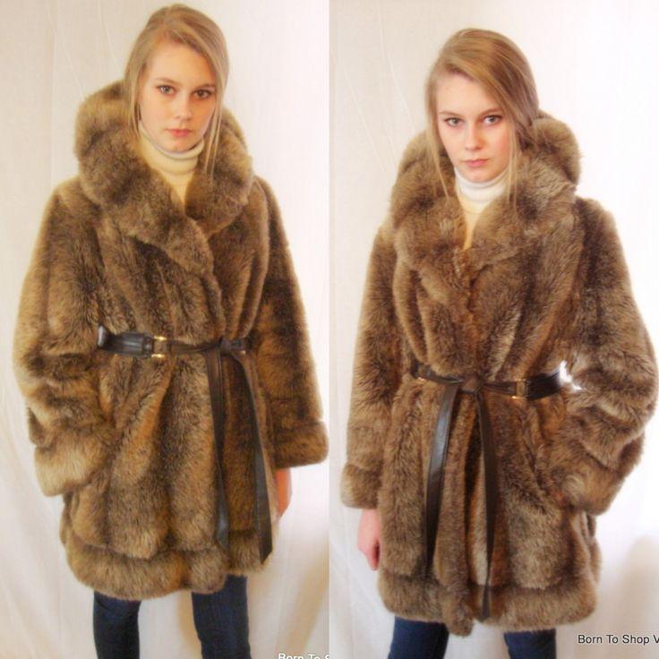 70s funky multi colour faux fur brown coat PYxwj9t0Kt