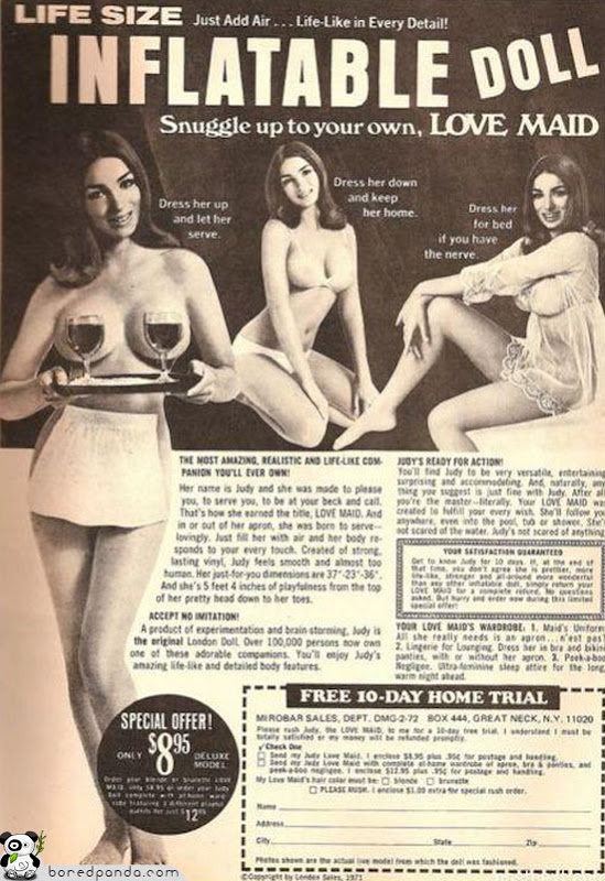 """Of course you can find an inflatable doll these days, but you won't find the special """"FREE 10-DAY HOME TRIAL"""" offer.  And for only $ 8.95!"""