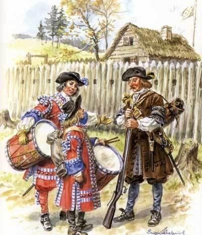 French; Régiment de Carignan-Salières, Drummers and Musketeer, c.1670 by Eugene Lliepvre