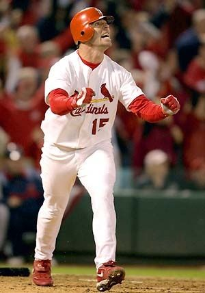 Jim Edmonds - one of my all-time favorite Cardinals in one of my all-time favorite Cardinals moments. Here he hits his walk-off home run in the 12th inning of Game 6 in the 2004 NLCS.