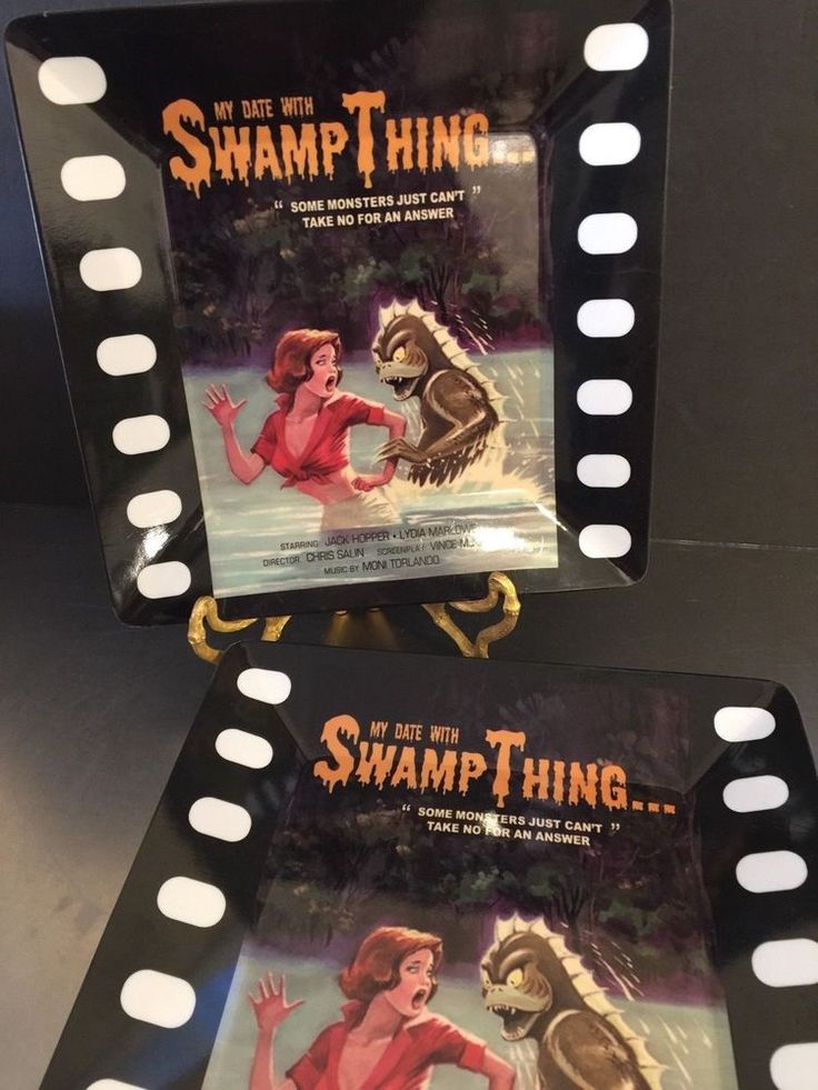 Plastic Plates Swamp Thing Set 5 Retro Horror Movie Theme Made China Mulberry