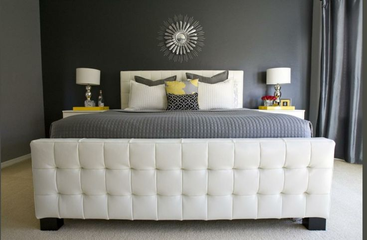 Perfect contrast White bed frame / Gray Walls #bedroom