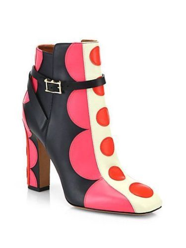 Valentino Runway Mod Pink Red Polka Dot Leather Ankle Bootie <3 Outlet77