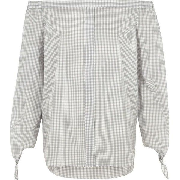 River Island Grey check tie sleeve bardot shirt ($56) ❤ liked on Polyvore featuring tops, bardot / cold shoulder tops, grey, women, extra long sleeve shirts, long sleeve shirts, poplin shirt, loose long sleeve shirt and grey long sleeve shirt